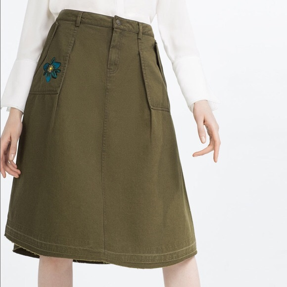 3fc0b7a3d Zara Skirts | Nwt Z1975 Denim Olive Embroidered Skirt Sz S | Poshmark